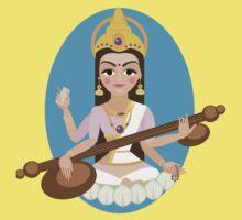Hindu Goddess Saraswati. Vector hand drawn illustration. One Piece - Short Sleeve