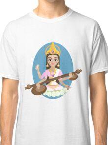 Hindu Goddess Saraswati. Vector hand drawn illustration. Classic T-Shirt