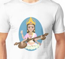 Hindu Goddess Saraswati. Vector hand drawn illustration. Unisex T-Shirt