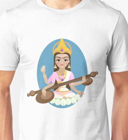 Hindu Goddess Saraswati. Vector hand drawn illustration. Unisex T-Shirt