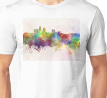 Des Moines skyline in watercolor background Unisex T-Shirt