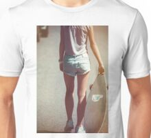 g woman posing with a skateboard. Unisex T-Shirt
