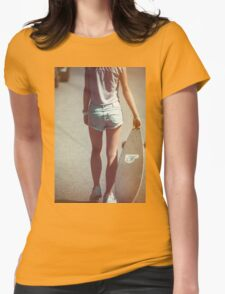 g woman posing with a skateboard. Womens Fitted T-Shirt