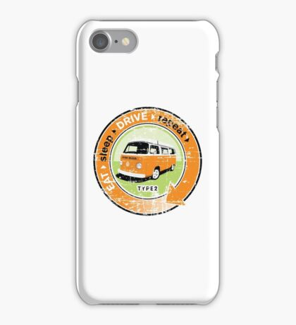 Eat Sleep Drive Repeat orange green grunge iPhone Case/Skin