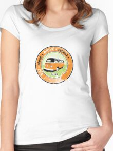 Eat Sleep Drive Repeat orange green grunge Women's Fitted Scoop T-Shirt