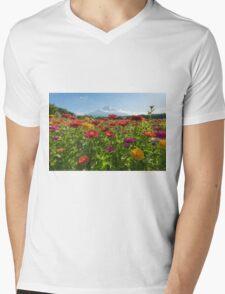 Zinnias for Mt. Fuji Mens V-Neck T-Shirt