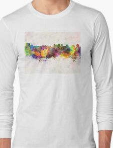 Halifax skyline in watercolor background Long Sleeve T-Shirt