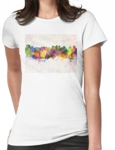 Halifax skyline in watercolor background Womens Fitted T-Shirt