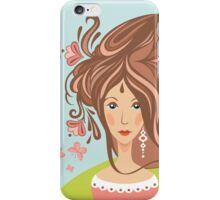 Girl with long beautiful hair iPhone Case/Skin