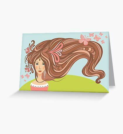 Girl with long beautiful hair Greeting Card