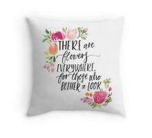 Henri Matisse Illustrated Lettering Floral Quote Throw Pillow