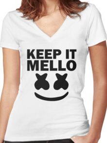 Keep It Mello Women's Fitted V-Neck T-Shirt