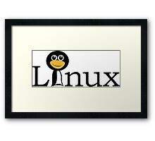 Linux text with funny Framed Print