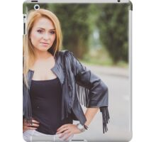 smiling blond woman in old town at sunny day iPad Case/Skin