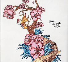 Koi fish with  blossom  by Adam  Parsons