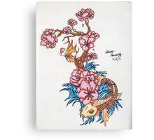 Koi fish with  blossom  Canvas Print