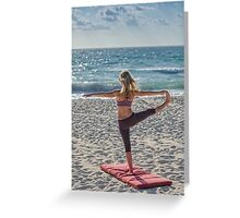 Woman play yoga on the sea Greeting Card