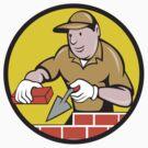 Bricklayer Bricks Trowel Circle Cartoon by patrimonio