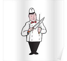 Butcher Sharpening Knife Cartoon Poster
