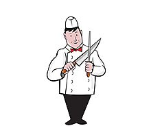 Butcher Sharpening Knife Cartoon Photographic Print