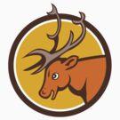 Stag Deer Buck Head Circle Cartoon by patrimonio