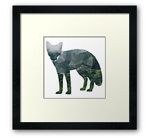 Low Poly Fox, Forest Framed Print