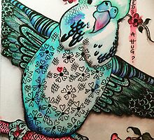Sugarplum blossom budgie by Wendi Seymour