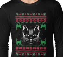 Cat Face Ugly Christmas Sweater Long Sleeve T-Shirt