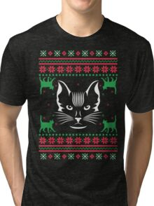 Cat Face Ugly Christmas Sweater Tri-blend T-Shirt