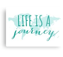 Life is a journey, teal world map Metal Print