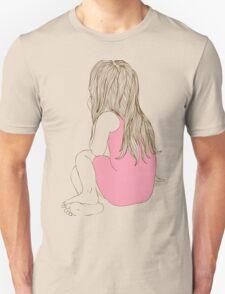 Little girl in a pink dress sitting back hair Unisex T-Shirt