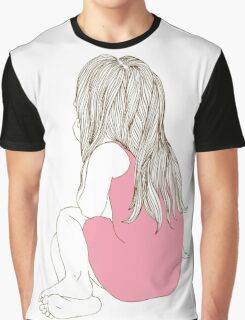 Little girl in a pink dress sitting back hair Graphic T-Shirt
