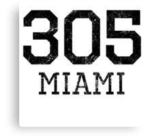 Distressed Miami 305 Area Code Canvas Print