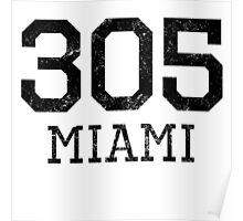 Distressed Miami 305 Area Code Poster