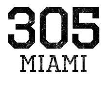 Distressed Miami 305 Area Code Photographic Print