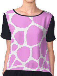Animal Print (Giraffe Pattern) - Pink White  Chiffon Top