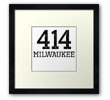 Distressed Milwaukee 414 Area Code Framed Print