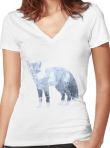 Low Poly Fox, Snowy Forest Women's Fitted V-Neck T-Shirt