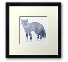 Low Poly Fox, Snowy Forest Framed Print