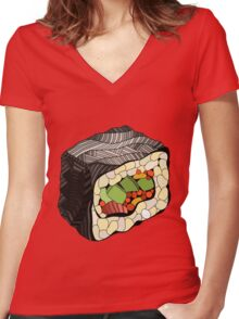 Sushi illustration Women's Fitted V-Neck T-Shirt