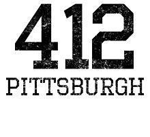 Distressed Pittsburgh 412 Area Code by kwg2200