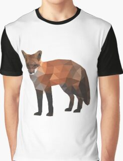 Low Poly Fox, Natural Colors Graphic T-Shirt