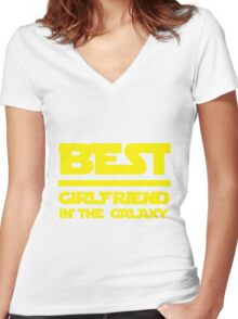 Best girlfriend in the galaxy. Women's Fitted V-Neck T-Shirt