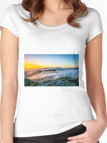Beautiful sunrise over the Mountain Women's Fitted Scoop T-Shirt