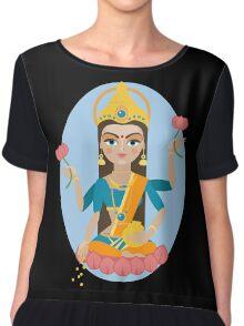 illustration of Hindu deity mother Lakshmi Chiffon Top