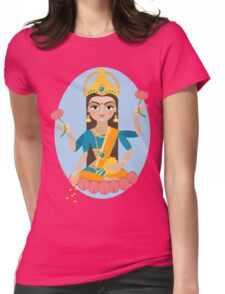illustration of Hindu deity mother Lakshmi Womens Fitted T-Shirt
