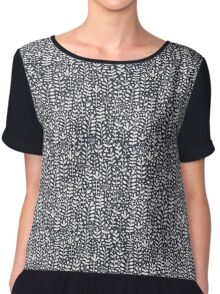 Dark gray seamless pattern with hand drawn floral elements Chiffon Top