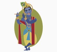illustration of Hindu deity Lord Krishna flute Kids Tee