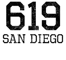 Distressed San Diego 619 Area Code by kwg2200