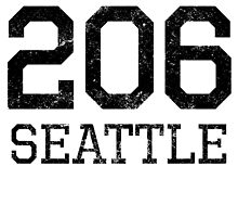 Distressed Seattle 206 Area Code by kwg2200